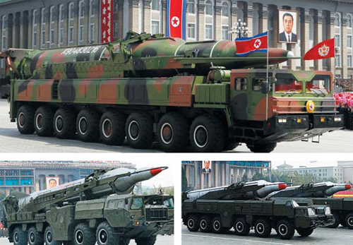 North Korean ballistic missiles are carried on mobile launch platforms. Clockwise from top, the latest ICBM unveiled in April 2012, the Musudan and the Rodong-B.