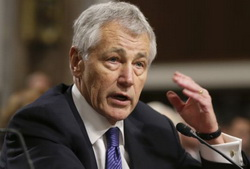 Secretary of Defense nominee Chuck Hagel testifies before the Senate Armed Services Committee during his confirmation hearing on Capitol Hill in Washington on Jan. 31, 2013. /AP