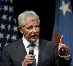 U.S. Defense Secretary Chuck Hagel speaks to service members and civilian employees at the Pentagon after being sworn in on Feb. 27, 2013. /AP