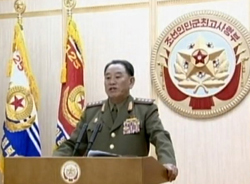 Gen. Kim Yong-chol speaks on North Korean state TV on Tuesday. /[North] Korean Central TV-News 1