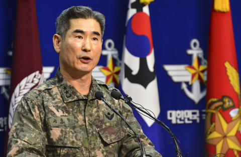 Joint Chiefs of Staff head of operations Maj. Gen. Kim Yong-hyun briefs reporters in Seoul on Wednesday.
