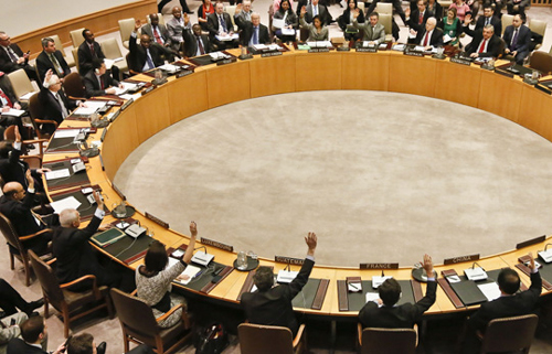 Members of the UN Security Council vote for tougher sanctions against North Korea over its latest nuclear test, at UN headquarters in New York on Thursday. /AP-Newsis