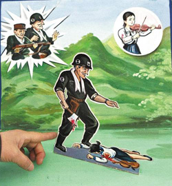 A picture from a textbook for North Korean kindergarteners shows a U.S. solider killing a woman with an axe. /AP-Newsis