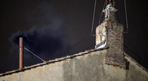 Black smoke emerges from chimney of Sistine Chapel on March 12, 2013. /AP