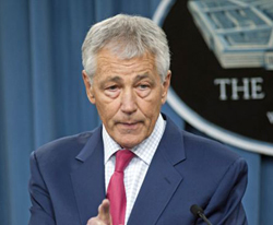 Defense Secretary Chuck Hagel speaks during a news conference at the Pentagon on March 15, 2013. /AP