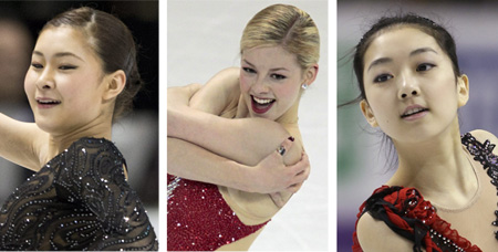 From left, Kanako Murakami /AP-Newsis; Gracie Gold /Reuters-Newsis; Li Zijun /AP-Newsis