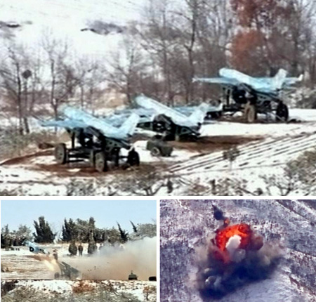 Photos of a North Korean military drill allegedly involving unmanned drones released on Wednesday by [North] Korean Central TV