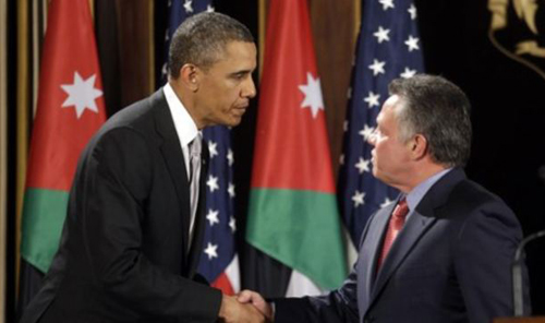 President Obama (left) and Jordans King Abdullah in Amman, Jordan on March 22, 2013 /AP