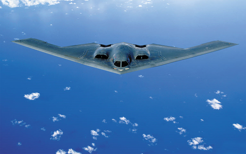 A B-2 bomber flies over South Korea on Thursday.