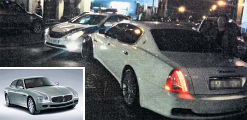 Lee Ji-ahs Maserati hits a police car on Saturday night. /Courtesy of Gangnam Police Station