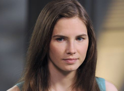 Amanda Knox is shown during the taping of an interview with ABC News Diane Sawyer in New York on April 9, 2013. /AP