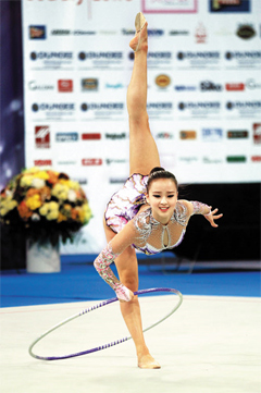 Son Yeon-jae performs in a hoop event at an FIG Rhythmic Gymnastics World Cup series in Sofia, Bulgaria. /Courtesy of IB Worldwide