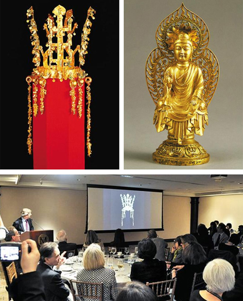Above: A Shilla-era gold crown and a seated golden statue of Buddha. Below: Visitors attend the briefing session for an exhibition of artifacts from the Shilla Kingdom opening in October at the Metropolitan Museum of Art in New York. /Newsis