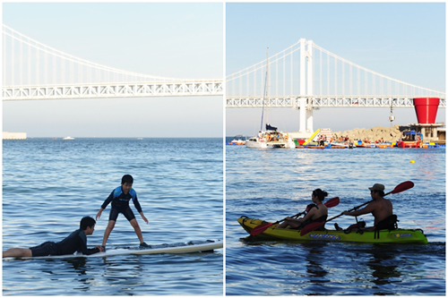 Left: A father and son learn how to surf. Right: A couple enjoys some time kayaking.