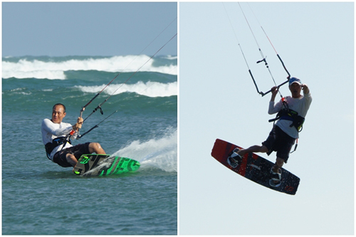 Kiteboarding takes in both the sea and the sky.