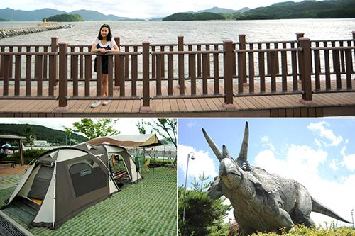 An attractive coastal path and historic dinosaur site abut the Namsan Park campsite.