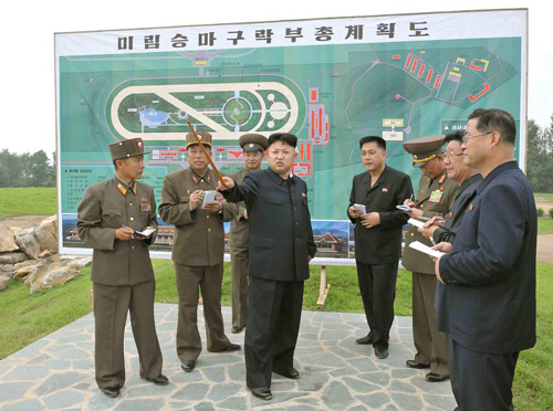 North Korean leader Kim Jong-un visits the construction site of the Mirim Riding Club in this undated photo released by the state-run KCNA news agency in Pyongyang on Saturday. /Reuters-News 1