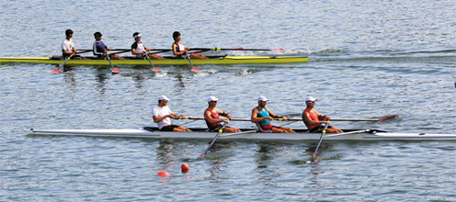 Rowers participating the 2013 World Rowing Championships practice on a lake in Chungju, North Chungcheong Province.
