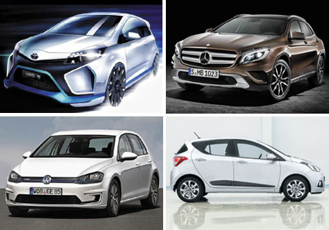 Clockwise from upper left, The Toyota Yaris Hybrid R; The Mercedes-Benz GLA Class; The Hyunda i10; and the Volkswagen e-Golf