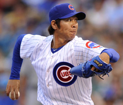 Chicago Cubs Lim Chang-yong pitches during the seventh inning of a game against the Milwaukee Brewers in Chicago on Saturday. /AP-Newsis
