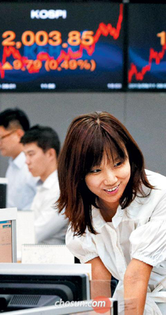 A staffer at Korea Exchange Bank in Myeong-dong, Seoul smiles in front of an electronic board showing the KOSPI closing at 2,003.85 points on Wednesday.