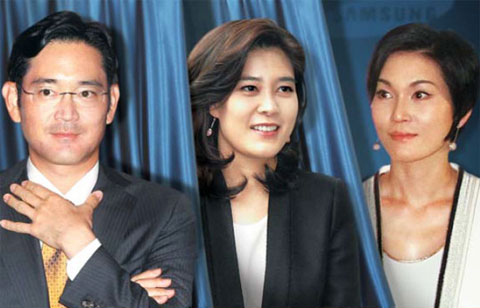From left, Lee Jae-yong, Lee Boo-jin and Lee Seo-hyun