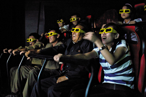 North Koreans watch a 3D movie in moving seats at the Rungna Peoples Sports Park in Pyongyang on Sunday. /AP-Newsis