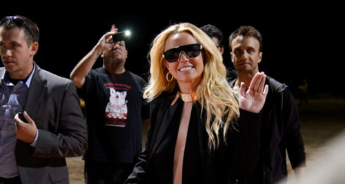 Britney Spears arrives to her announcement for her new show at Planet Hollywood Vegas on Sept. 17, 2013 in Las Vegas. /AP