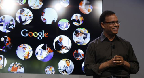 Amit Singhal, senior vice president of search at Google, speaks at the garage where the company was founded on Googles 15th anniversary in Menlo Park, California on Sept. 26, 2013. /Reuters