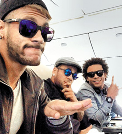 In this picture posted by Neymar on his Instagram account, Neymar, Daniel Alves and Marcelo (from left) are shown arriving at Incheon International Airport on Monday.
