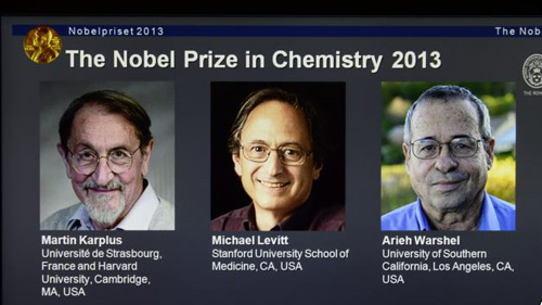 Laureates Martin Karplus, Michael Levitt and Arieh Warshel as winners of the 2013 Nobel Prize in chemistry, announced by the Royal Swedish Academy of Sciences in Stockholm, on Oct. 9, 2013. /AP