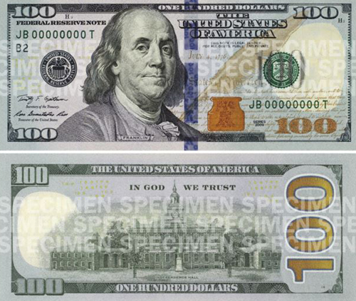 A combination photo shows the front and back of the newly designed $100 bill. /Reuters