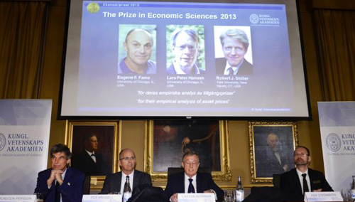 The Royal Swedish Academy of Sciences announces the winners of 2013 Nobel Memorial Prize in Economic Sciences as Eugene Fama, Lars Peter Hansen and Robert Shiller in Stockholm on Oct. 14, 2013. /AP
