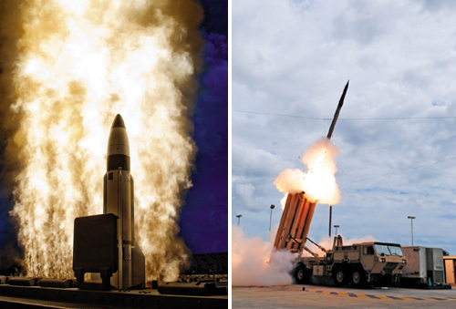 Left: An SM-3 missile is fired from the U.S. Navys USS Lake Erie off the coast of Hawaii on Sept. 18, 2013. /Reuters; Right: A THAAD missile