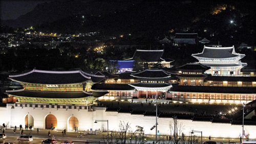 Gyeongbok Palace is brightly lit up on Wednesday night.