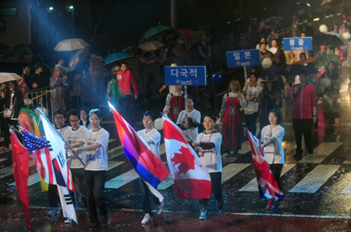 Foreign residents at a festival in Changwon last October
