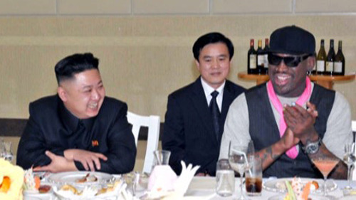 Former NBA superstar Dennis Rodman (right) talks with North Korean leader Kim Jung-un (left) during a visit to Pyongyang in early September.