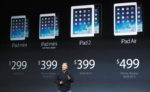 Apple marketing chief Phil Schiller introduces the new iPads during a media event at the Yerba Buena Center in San Francisco, California on Tuesday. /Xinhua-Newsis