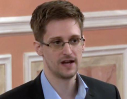 In this image made from video released by WikiLeaks on Oct. 11, 2013, former National Security Agency systems analyst Edward Snowden speaks during a presentation ceremony in Russia. /AP