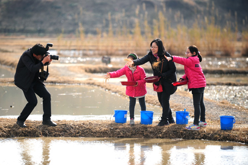 Visitors scatter feed for migratory birds at Junam Wetlands in Changwon.