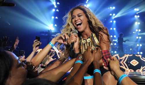 Singer Beyoncé Knowles performs on her