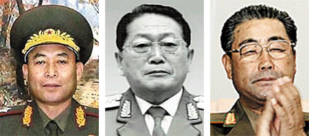 From left, Ri Yong-ho, U Dong-chuk and Kim Jong-gak
