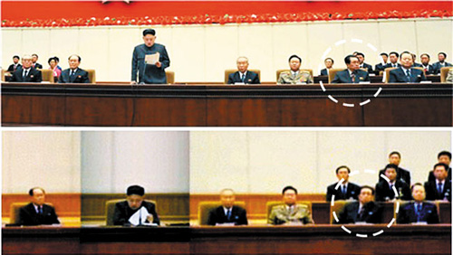 Jang Song-taek (in dotted circle) lounges informally in his chair (bottom) or stares off into the distance while Kim Jong-un delivers a speech in this screen capture from [North] Korean Central TV on Jan. 29, 2013.