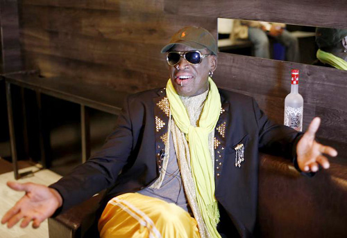Dennis Rodman gestures during an interview in this photo taken on Nov. 21. /AP