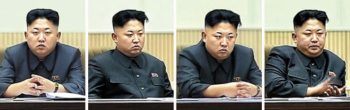 North Korean leader Kim Jong-un sits stony-faced at a ceremony on Tuesday marking the second anniversary of his father Kim Jong-ils death. /[North] Korean Central News Agency