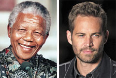 Nelson Mandela (left) and Paul Walker