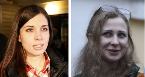 A combination photo shows freed Pussy Riot members Nadezhda Tolokonnikova (left) in Krasnoyarsk and Maria Alyokhina in Nizhny Novgorod speaking to the media after they were released from prison on Dec. 23, 2013. /Reuters