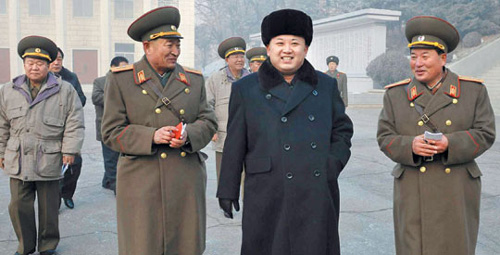 North Korean leader Kim Jong-un smiles during an inspection of a command post in this picture released by the official Rodong Sinmun daily on Wednesday.
