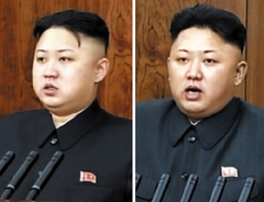 Kim Jong-un gives a New Years speech last year (left) and this year. /[North] Korean Central TV