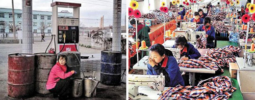 Left: A North Korean woman buys oil at a gas station in Hamhung, South Hamgyong Province late last year; Right: North Korean workers make clothes in a garment factory in the Rajin-Sonbong special economic zone last month.